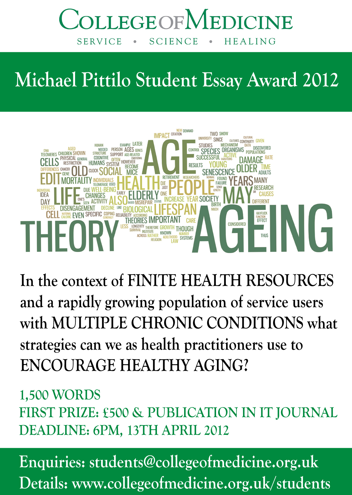 history of medicine essay prize It is awarded to medical students for an essay on a subject pertinent to ageing or old amulree essay prize winners the story of a geriatrician.